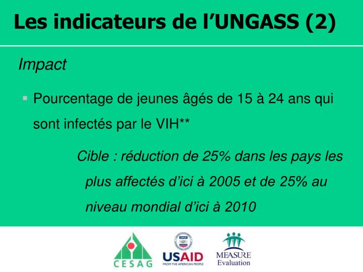 Les indicateurs de l'UNGASS (2)