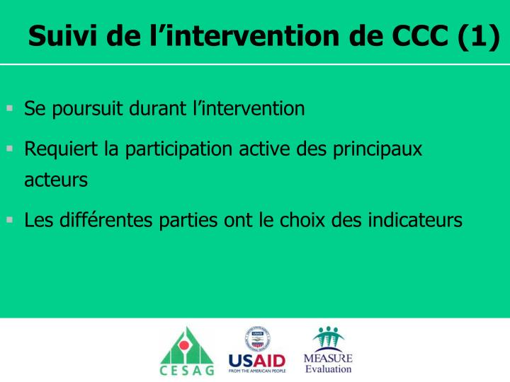 Suivi de l'intervention de CCC (1)