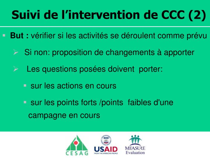 Suivi de l'intervention de CCC (2)