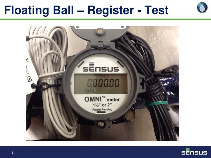 Floating Ball – Register - Test