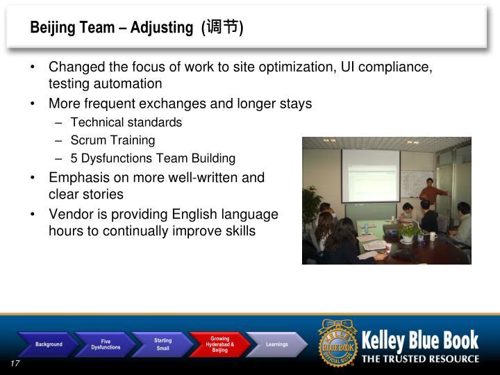 Beijing Team – Adjusting  (