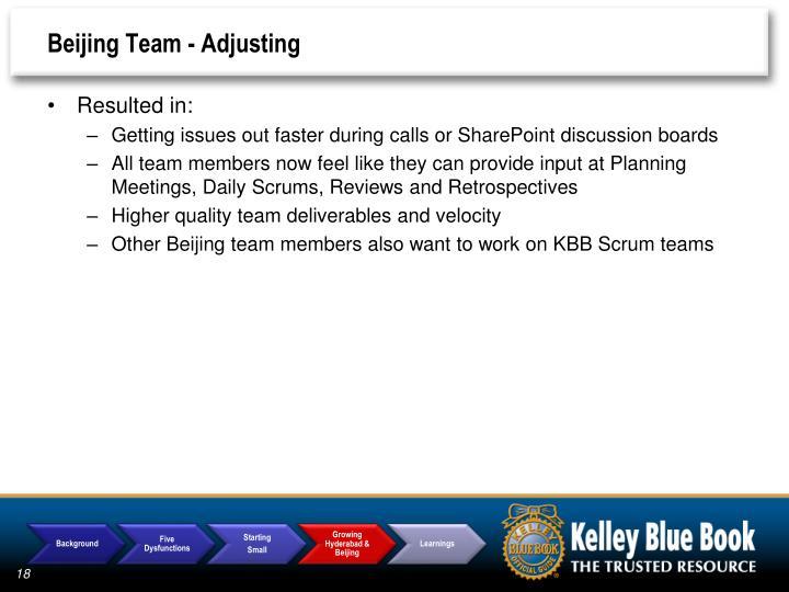 Beijing Team - Adjusting