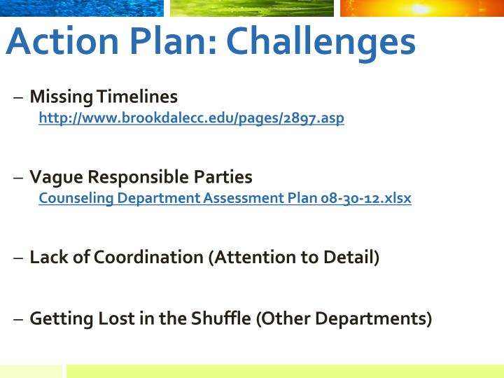 Action Plan: Challenges