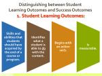 distinguishing between student learning outcomes and success outcomes