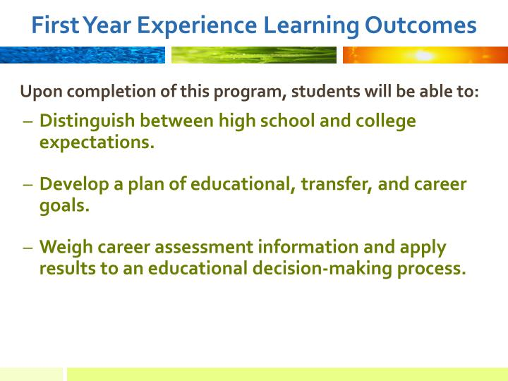 First Year Experience Learning Outcomes