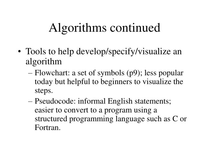 Algorithms continued