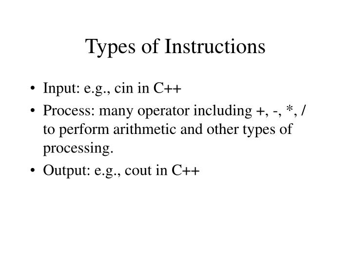 Types of Instructions