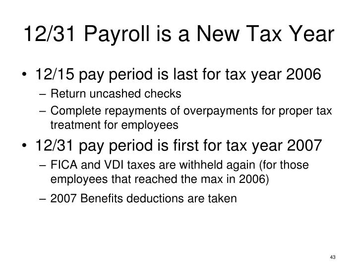 12/31 Payroll is a New Tax Year