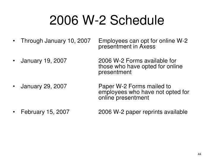 2006 W-2 Schedule