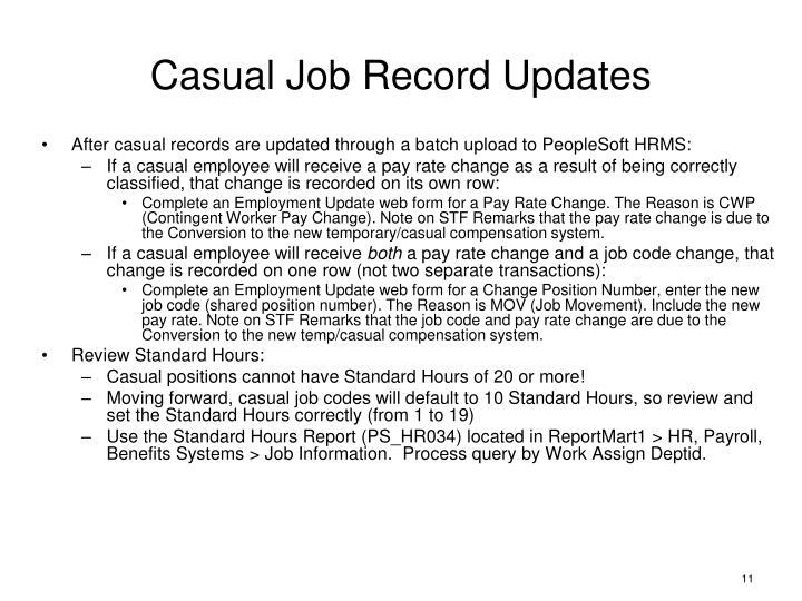 Casual Job Record Updates