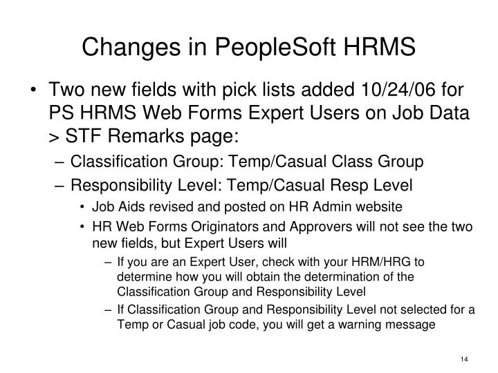 Changes in PeopleSoft HRMS