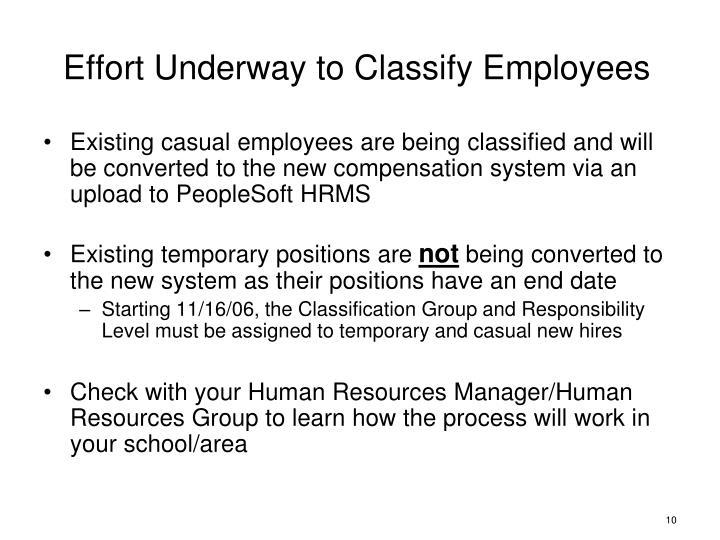 Effort Underway to Classify Employees