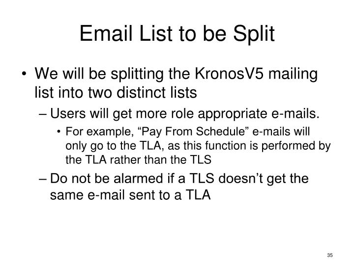 Email List to be Split