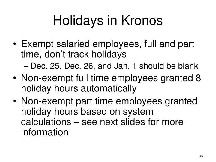 Holidays in Kronos