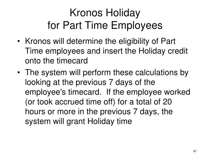 Kronos Holiday