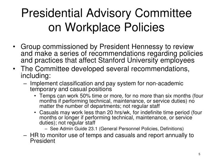 Presidential Advisory Committee on Workplace Policies