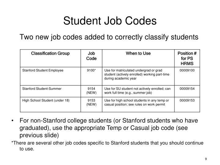 Student Job Codes