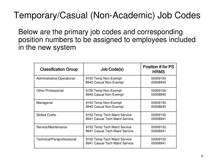 Temporary/Casual (Non-Academic) Job Codes