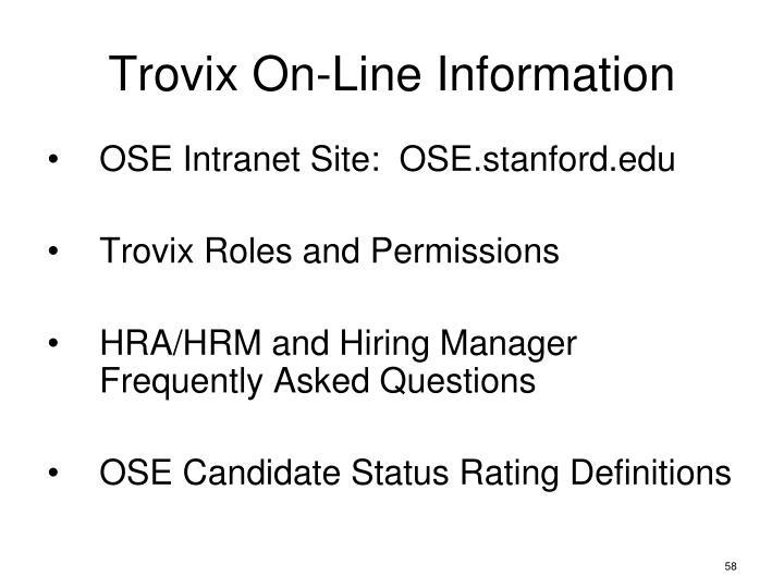 Trovix On-Line Information
