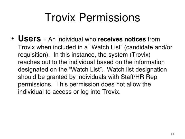 Trovix Permissions