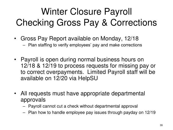 Winter Closure Payroll