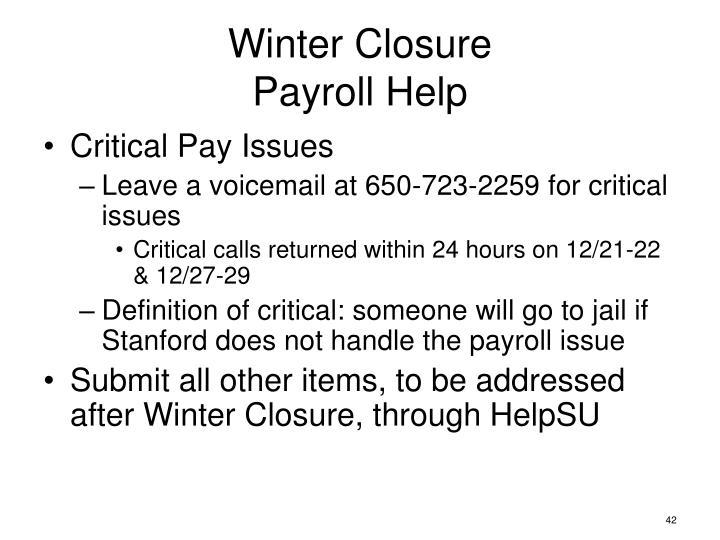 Winter Closure
