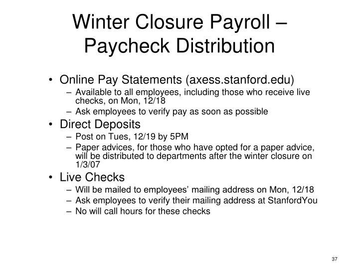 Winter Closure Payroll –