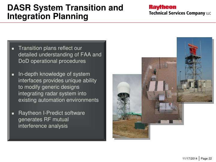 Transition plans reflect our detailed understanding of FAA and DoD operational procedures