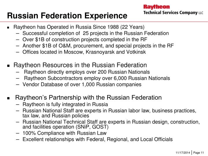 Russian Federation Experience
