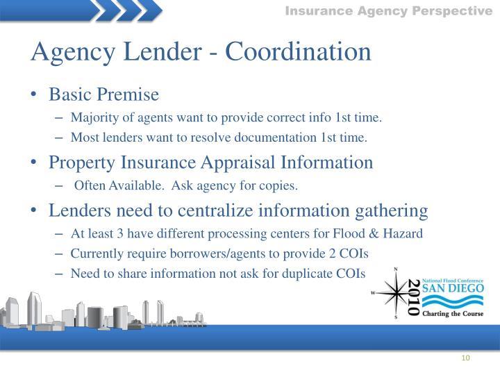 Agency Lender - Coordination