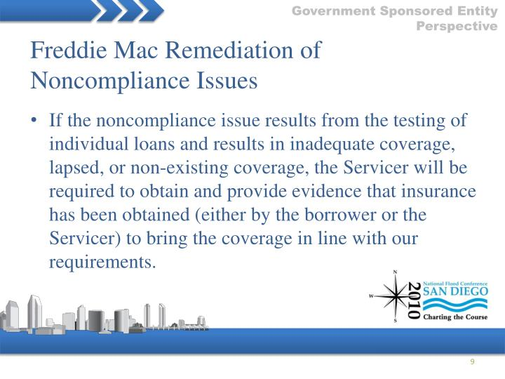 Freddie Mac Remediation of Noncompliance Issues