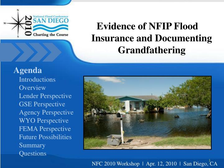 Evidence of NFIP Flood Insurance and Documenting Grandfathering
