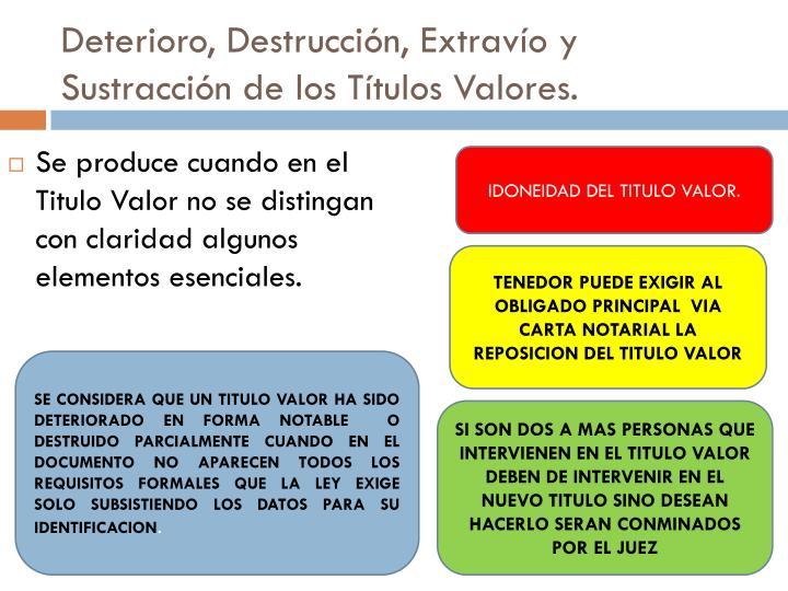 Deterioro, Destrucción, Extravío y Sustracción de los Títulos Valores.
