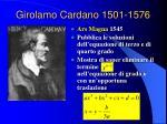 girolamo cardano 1501 1576