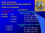 omar al khayyam sulle dimostrazioni dei problemi di al jabr e al muqabala