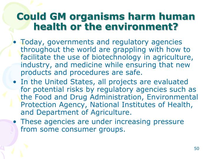 Could GM organisms harm human health or the environment?