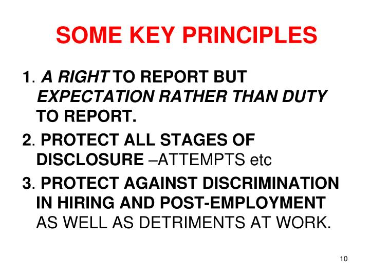 SOME KEY PRINCIPLES