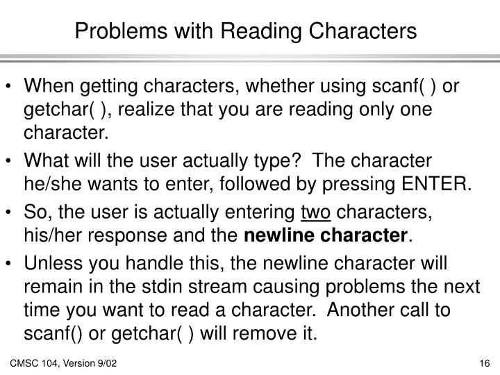 Problems with Reading Characters
