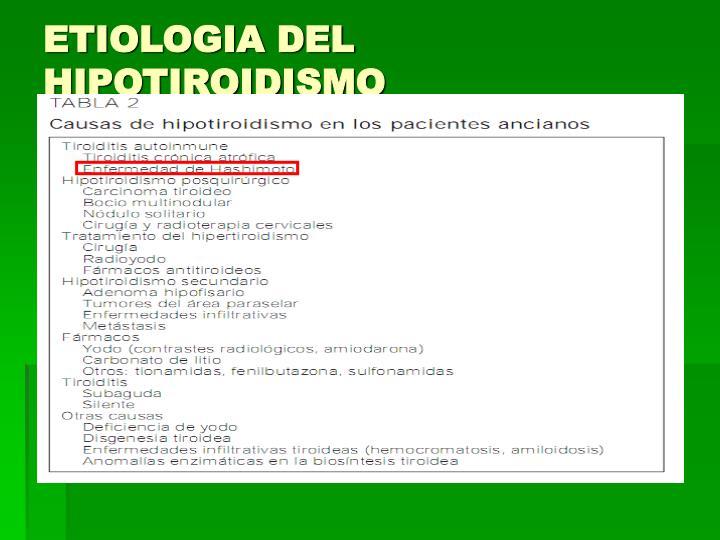 ETIOLOGIA DEL HIPOTIROIDISMO