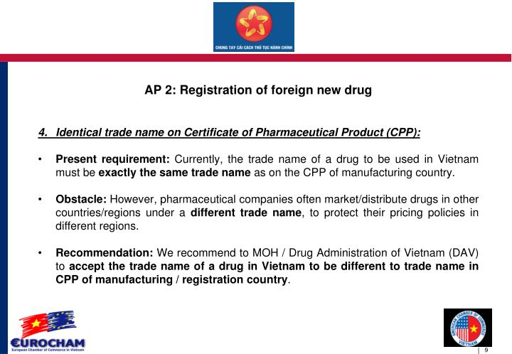 AP 2: Registration of foreign new drug