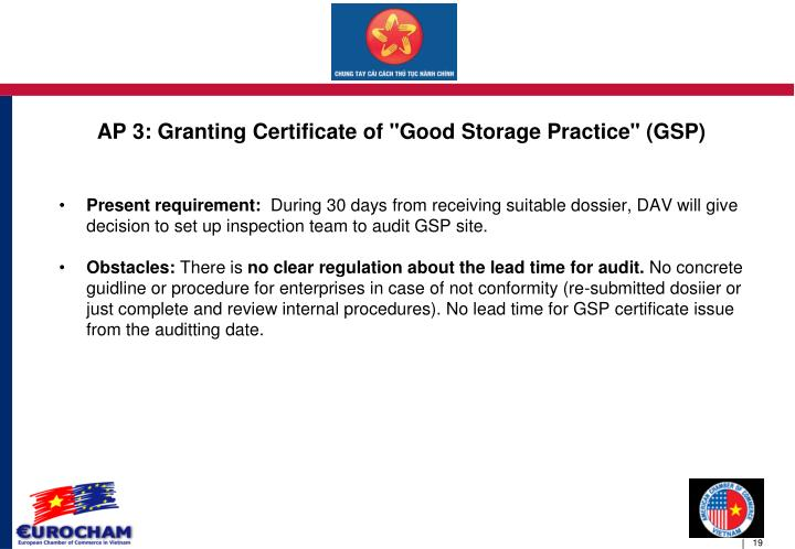 "AP 3: Granting Certificate of ""Good Storage Practice"" (GSP)"