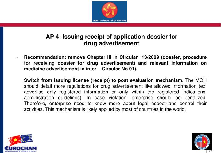 AP 4: Issuing receipt of application dossier for