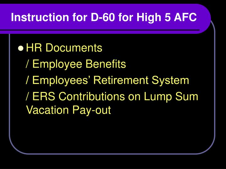Instruction for D-60 for High 5 AFC