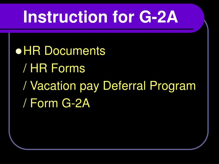 Instruction for G-2A