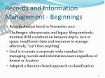 records and information management beginnings