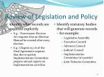 review of legislation and policy