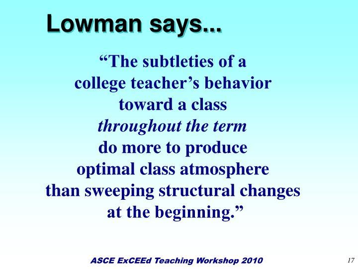 Lowman says...