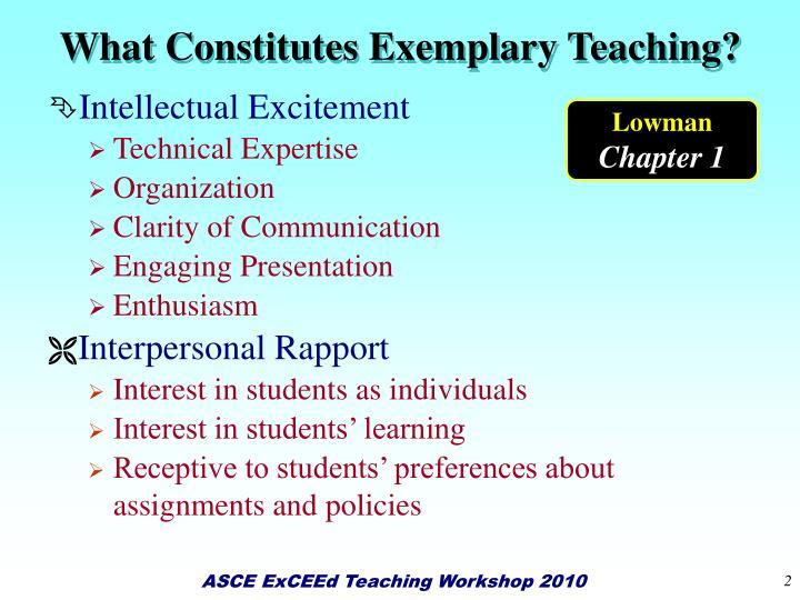 What Constitutes Exemplary Teaching?