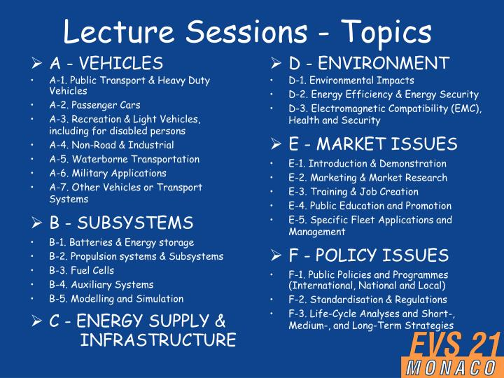 Lecture Sessions - Topics