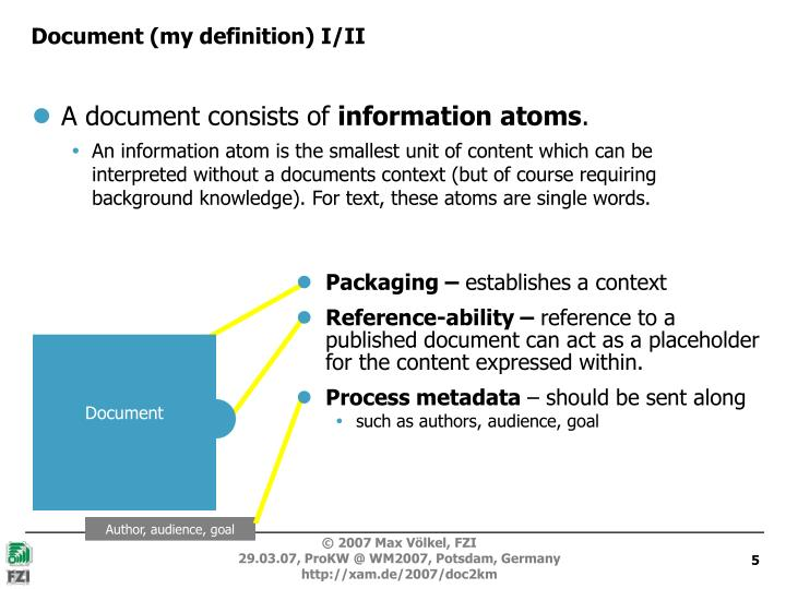 Document (my definition) I/II